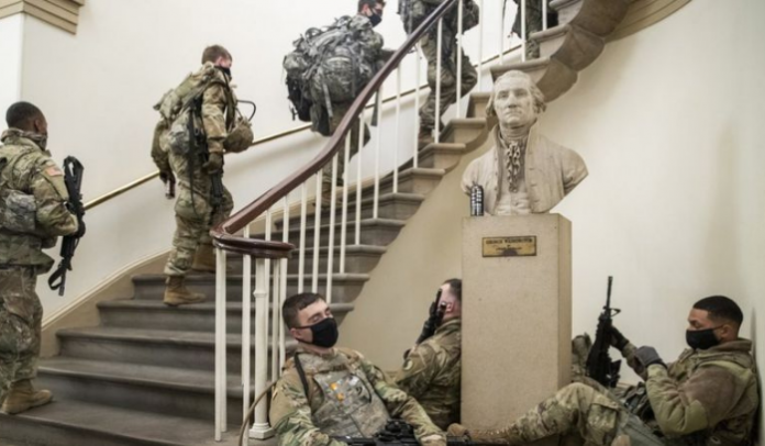 For two weeks, the soldiers guarded the Capitol and slept there. And now they were kicked out into the street